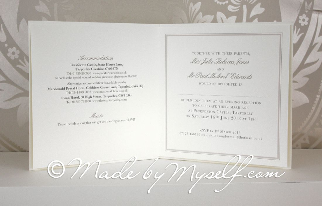 Printed Wedding Invitations: Peckforton Castle Printed Border Wedding Invitation